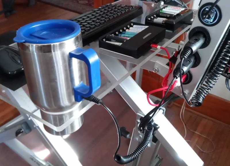 PedalPC desktop with heated beverage cup